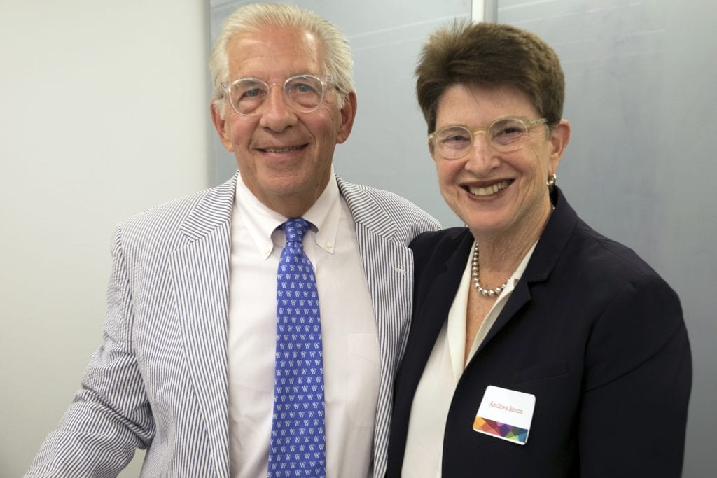 Andrew and Andrea Simon at the launch of the Simon Initiative in May 2018